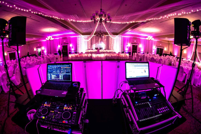 DJ and lighting setup