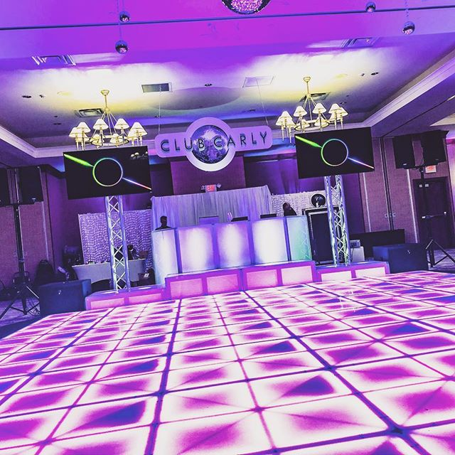 Welcome to #ClubCarly at the @rochesterdoubletree Put this one down in the books, Carly's Bar Mitzvah was off the charts!!! Thank you so much for letting us be a part of it! #LEDDanceFloor #MirrorBooth #RingRoamer #DJEntertainment #UpLighting #Monogram #DanceStages #PinSpots #TVs #DJFacade #Truss #BatMitzvah #BestDJsInRochester #BarMitzvahBoys