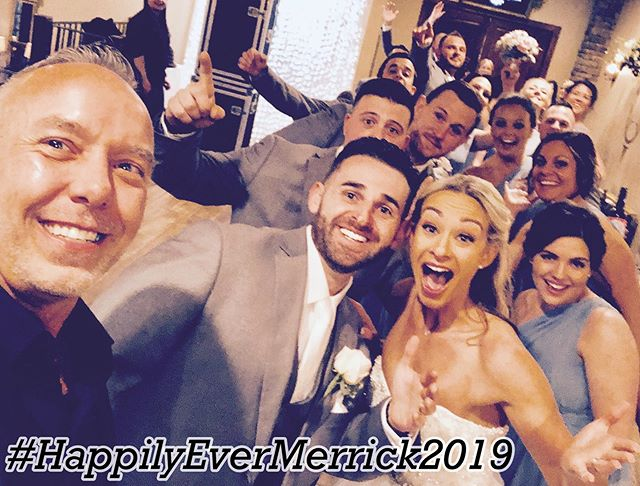 "So excited to work with this #RockstarCouple! Thank you so much for letting us be a small part of your amazing day! #WeddingPartySelfie #HappilyEverMerrick2019 #BestDJsinRochester ""It's not what we do, it's how we do it"""