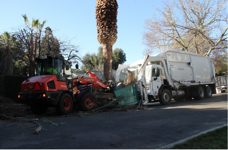 Clean Streets L.A. five member crew removed more than two tons of palm fronds and debris left at the end of a cul-de-sac in Eagle Rock .