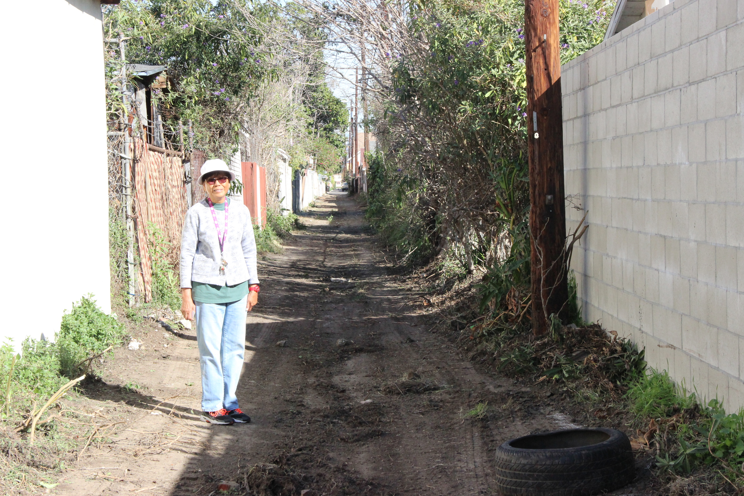 """This alley was scary. As a matter of fact, I was broken into from the back so that's when I started. At the beginning I cleaned the space I have in back of my fence, but then I got tired of it because I got no help. So then I started a movement which started in August but then I stopped because my mother died. I started again in February and it seemed like I was getting some traction and getting some more people. Before there were only a few people but this last February there were more. And now we are going to have a block meeting in March and I will start to give the flyers out again so that we get the whole community involved. It's so hard to organize, but I will tell them, you cleaned today, February 24. I will tell them and I hope you keep doing it."""