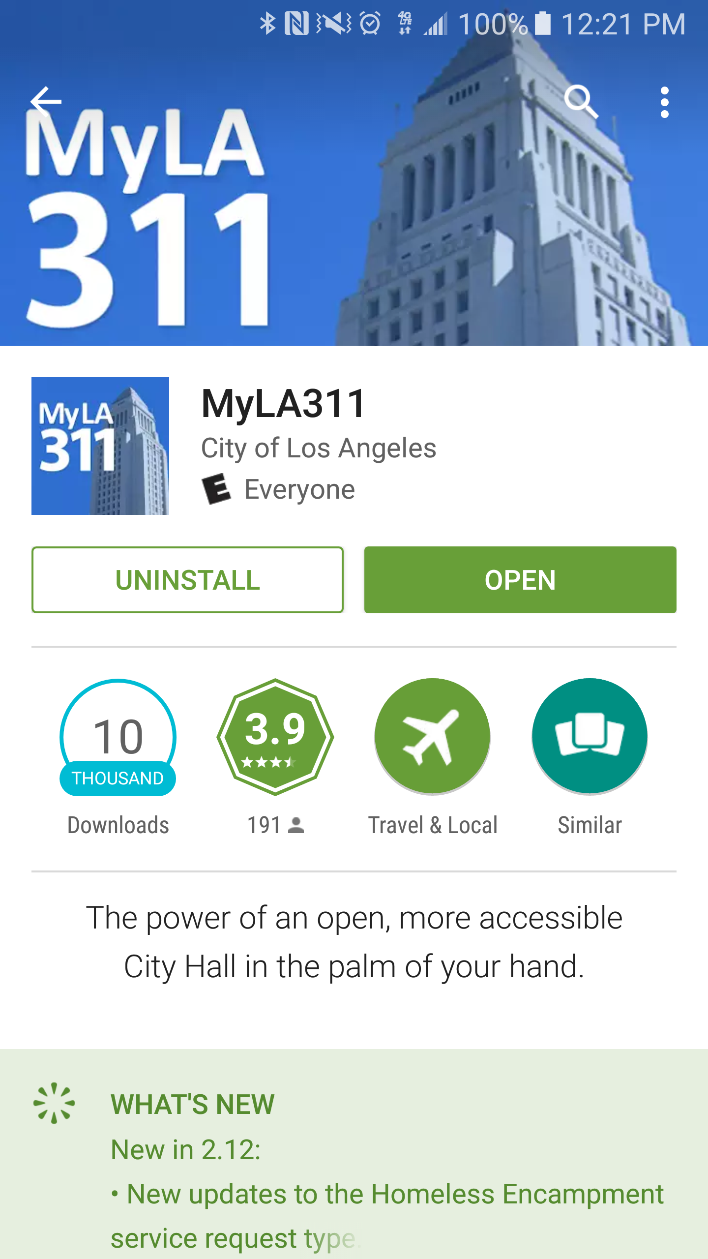 To download the   MyLA311   app, visit   Google Play   or   Apple App Store  .