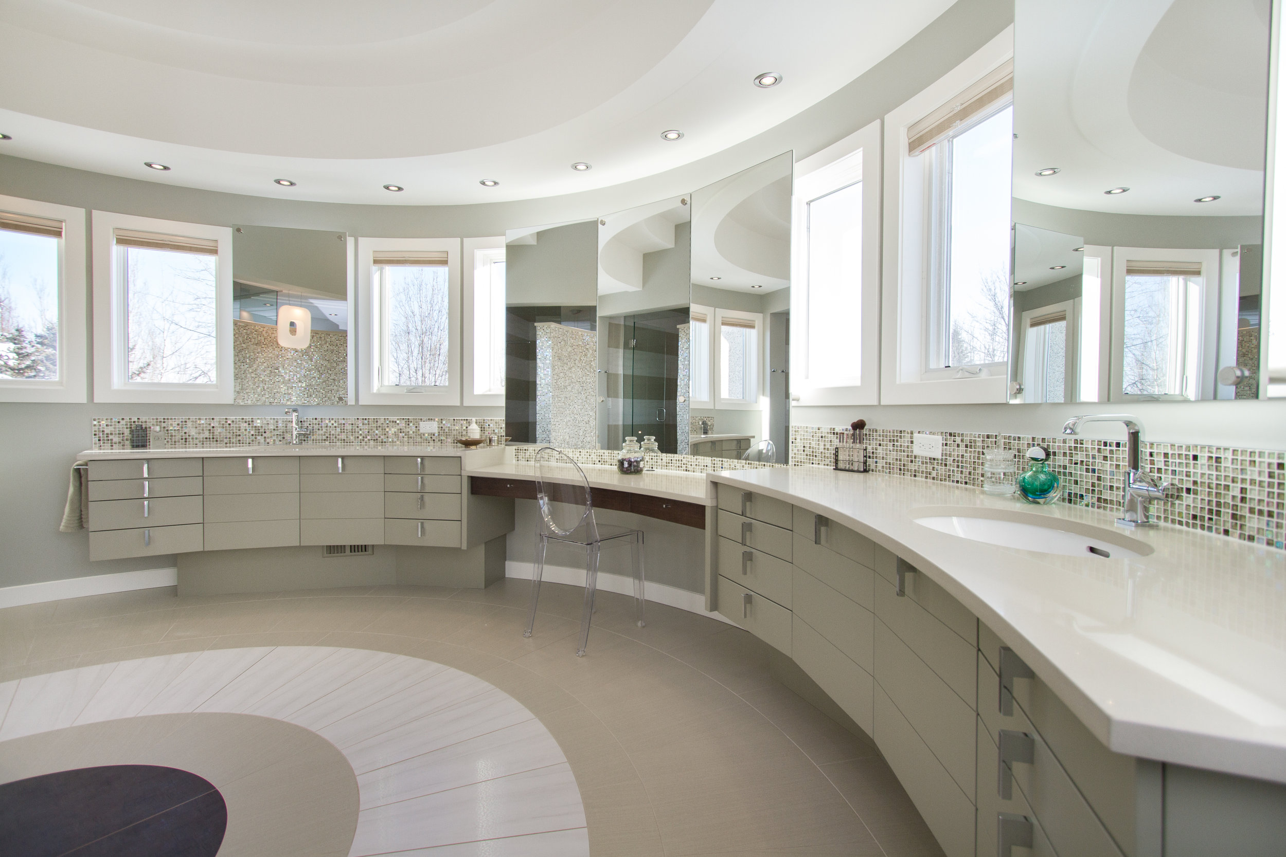 Curved Vanity and Tile instal