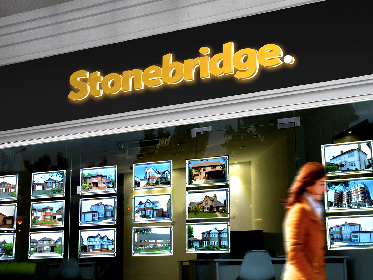 Stonebridge - When it comes to property sales, presentation is everything. Stonebridge a London estate agents, required a brand to match their reputation for service. The idea was to design a brand which has bold visual identity. Branding an estate agent needs to be dynamic and should look equally at home on a, brochure, stationery, website and vehicles. We developed a simple clean design using the angles of a pitched roof and a business colour palette to convey trustworthiness.