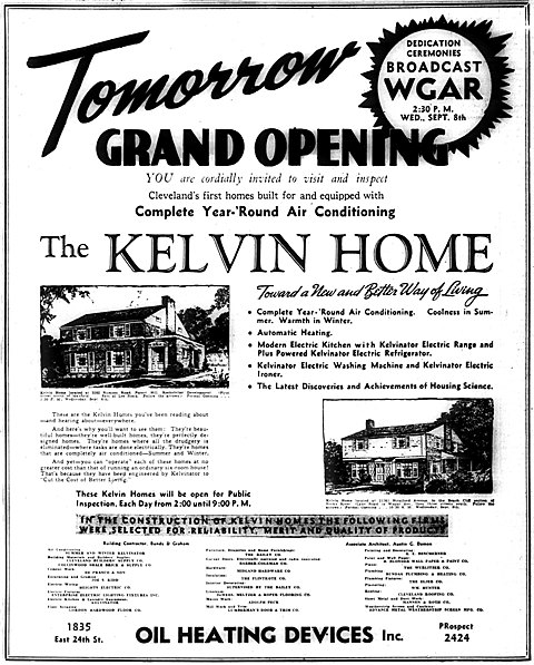 This ad announcing the grand opening of the Kelvin home ran in the Cleveland Plain Dealer, Press and News in September 1937.