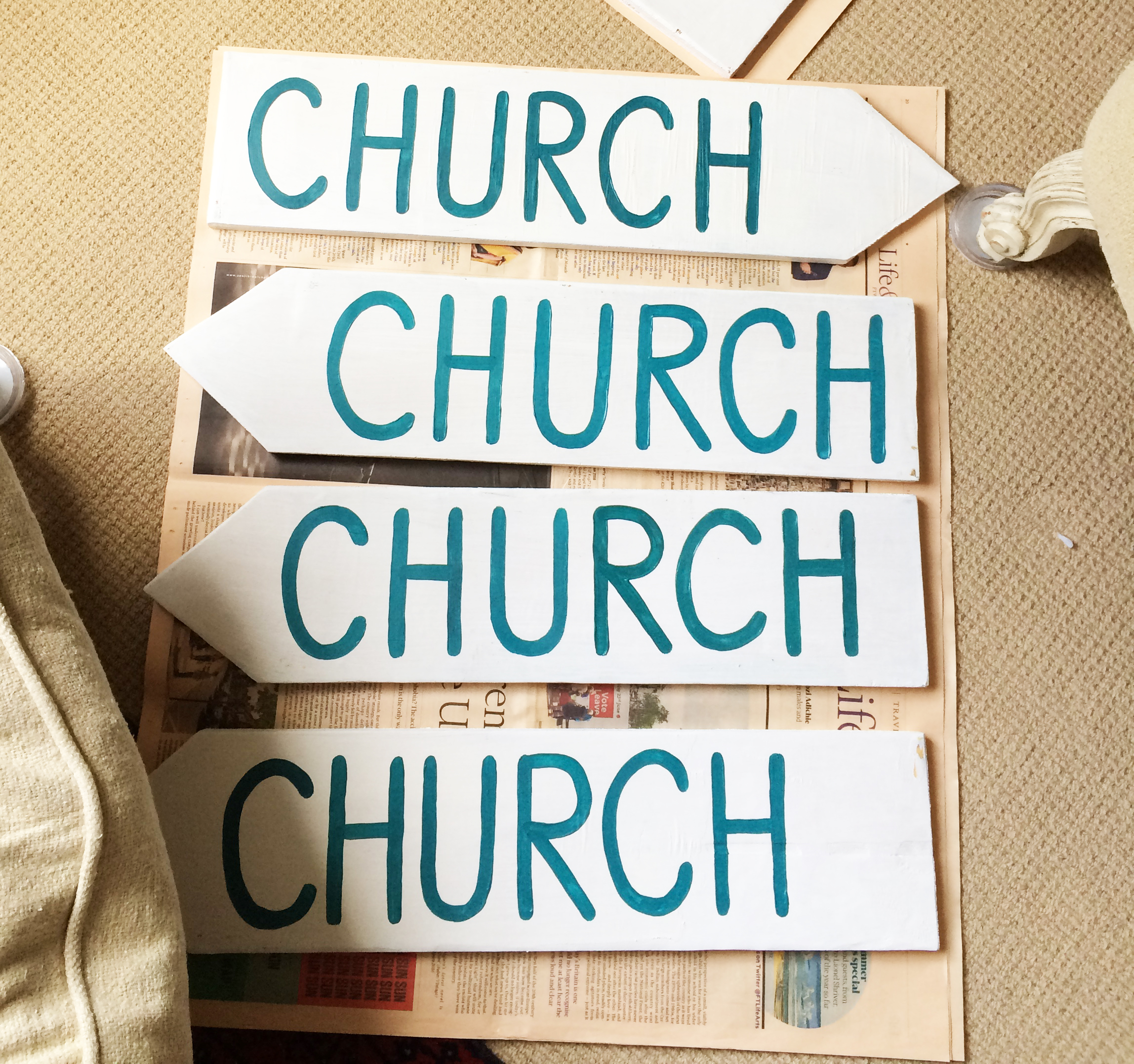 Hand-painted signposting