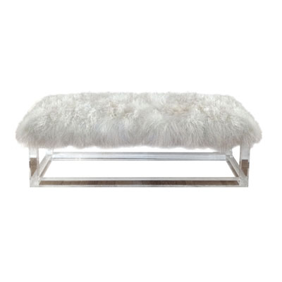 LUCITE AND MONGOLIAN FUN BENCH