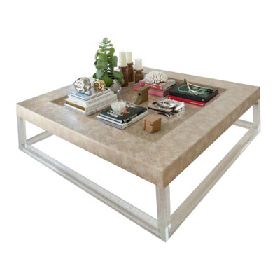 SUNKEN TRAY LUCITE LEG COFFEE TABLE