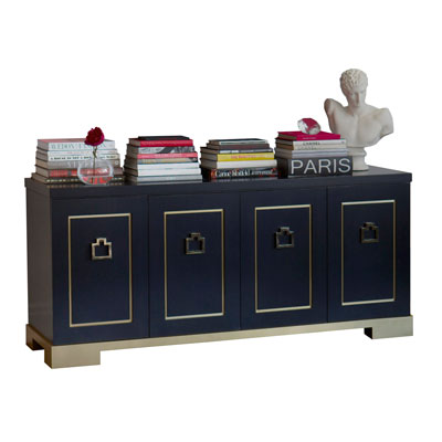 WOOD AND BRASS CREDENZA