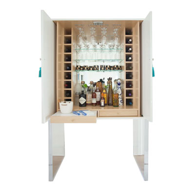 TALL BAR CABINET WITH LUCITE LEGS