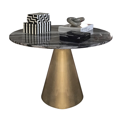 BRASS DRUM MARBLE TOP TABLE