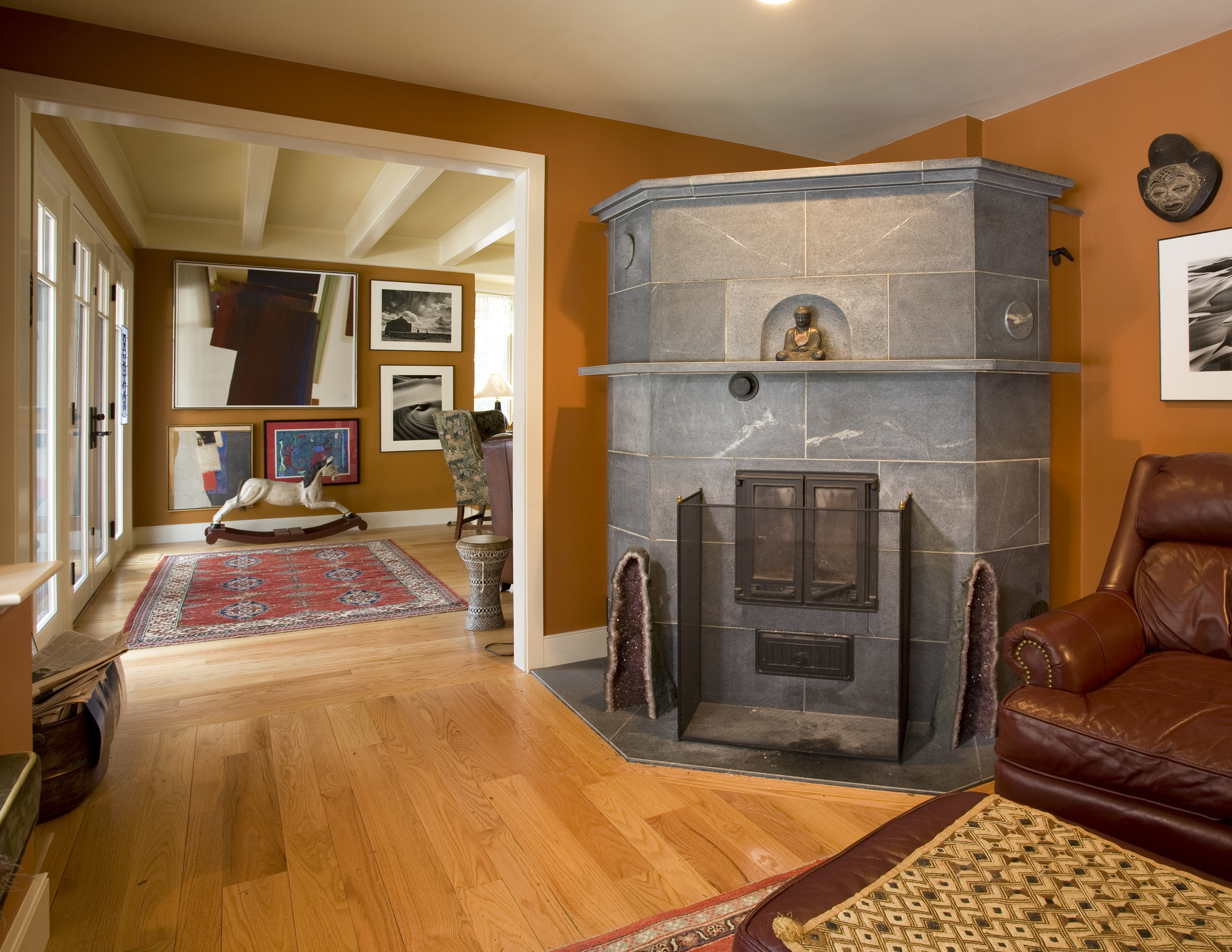 Eclectic interior with fireplace