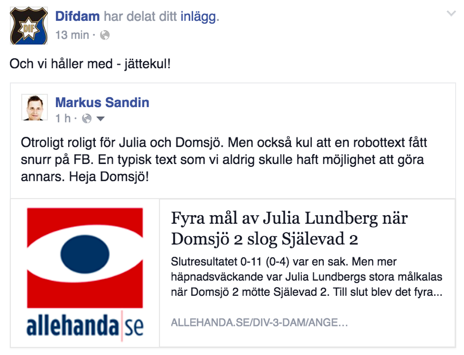 Example of how an automated text from United Robot's Sportsrobot, published at  allehanda.se , generates social interaction on Facebook.