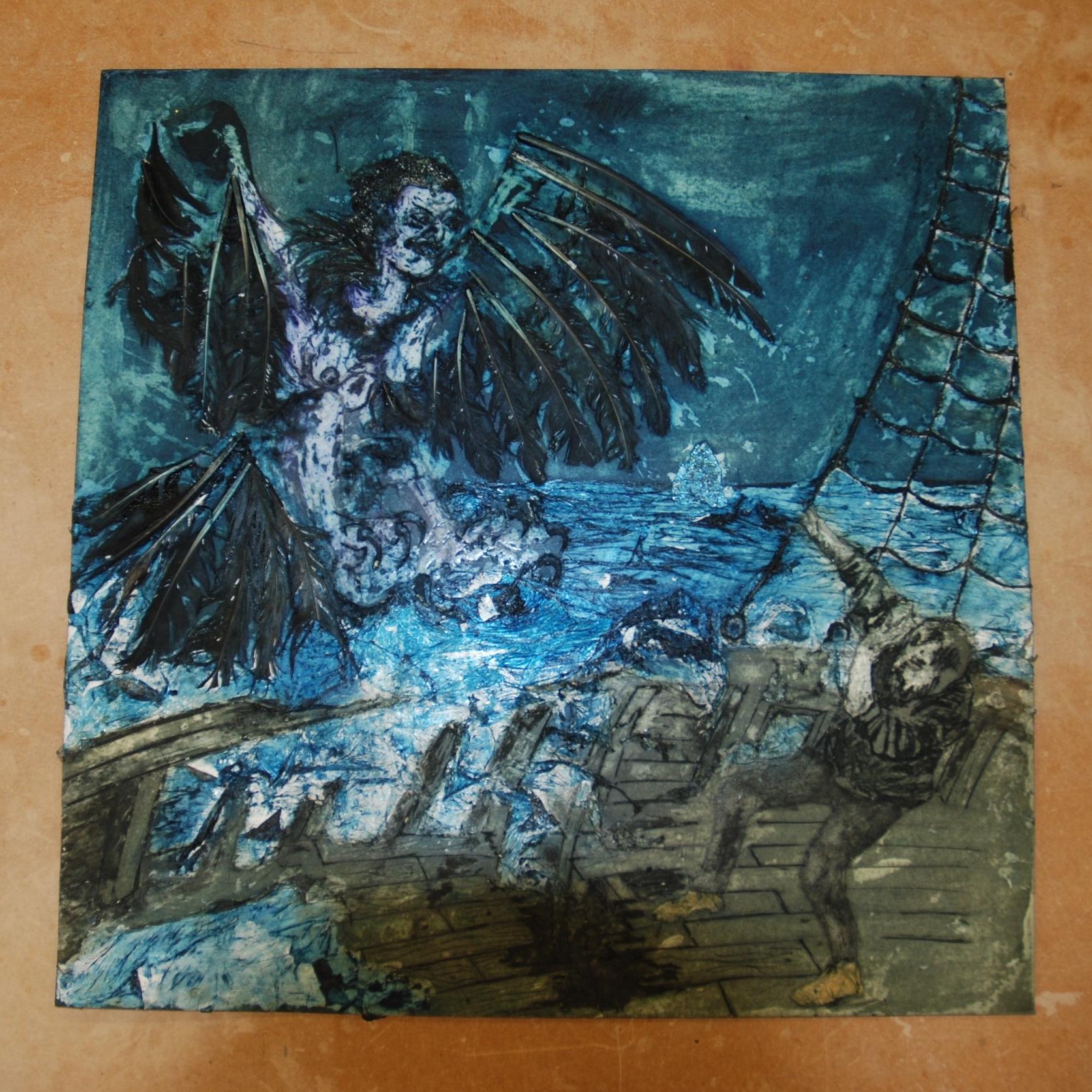 Bird of Sorrow (inked plate)