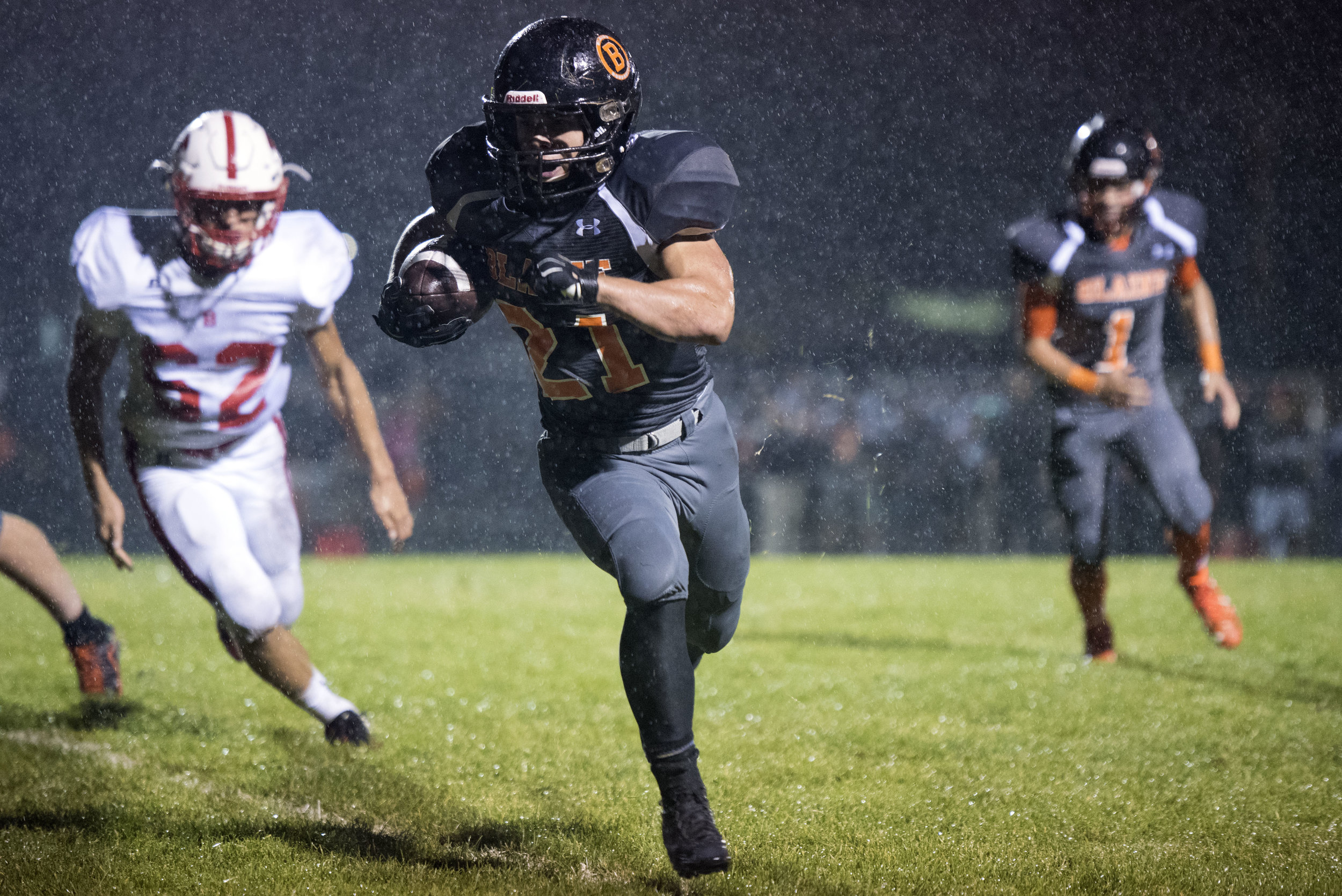 Riley Fritsch, senior running back for the Blaine Borderites, turns the corner as he heads for the endzone to score the winning touchdown with just over a minute left in the fourth quarter on Friday, Sept. 23, 2016 in Blaine, Wash.