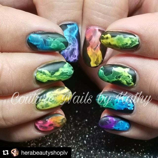 Smoky Rainbow nails by @couturenailsbyali