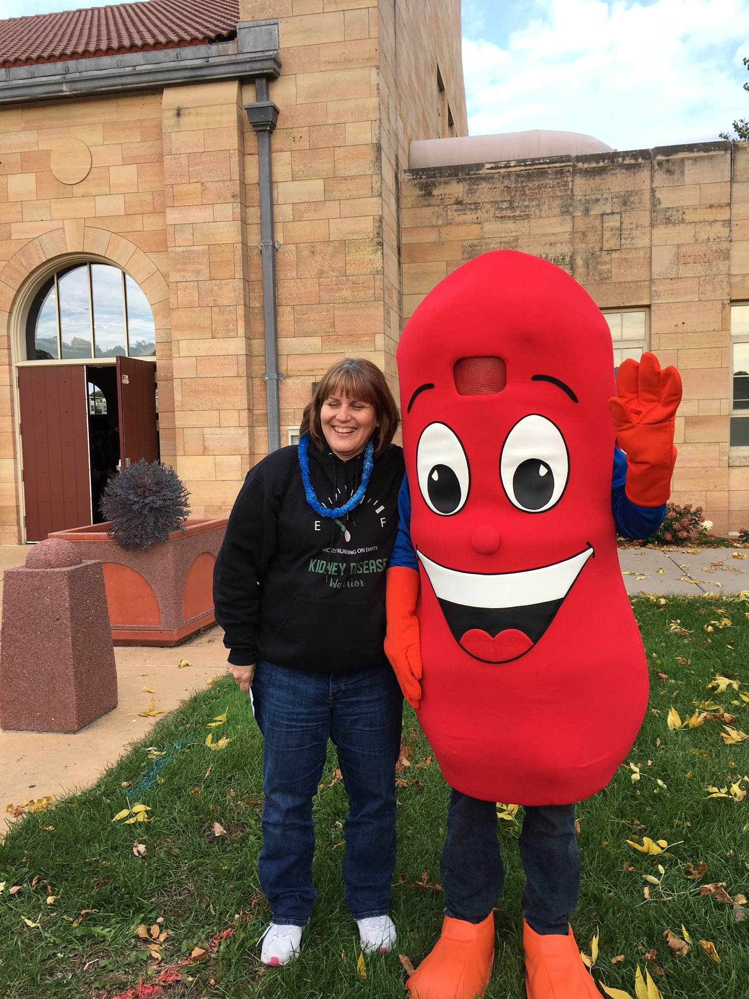 Lynn Nelson with Kidney Mascot   Kidney Walk  Students planned and worked very hard on fundraising.  Their goal was $500, they ended up collecting $6,019.00!!!