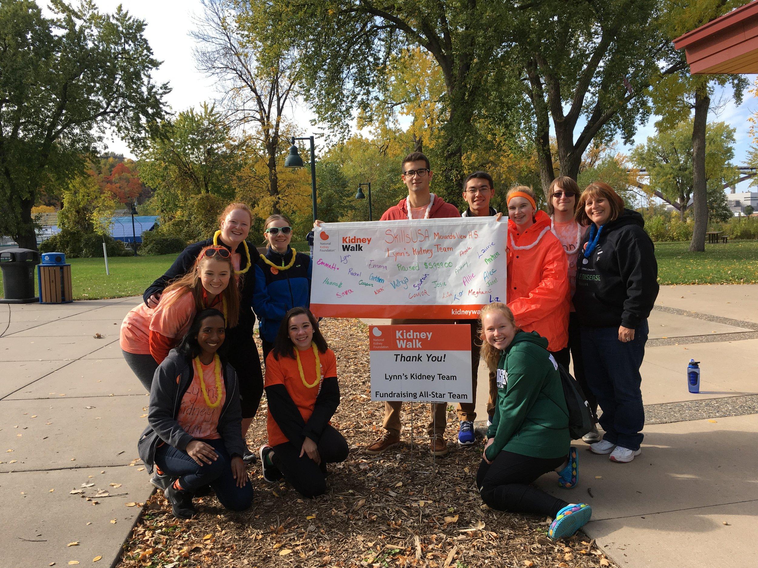 Lynn Nelson's School Team; Fundraising Kidney Walk