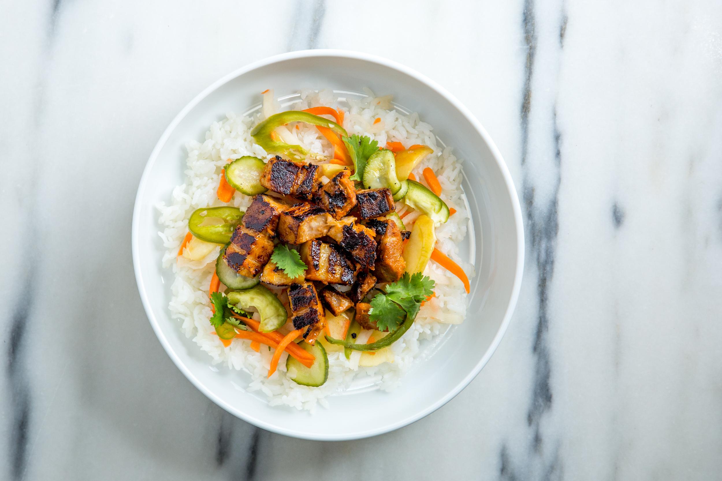 Pork Bánh Mì Bowl - Pork Belly + Pickles + Cilantro + Koji + Rice - $9.95