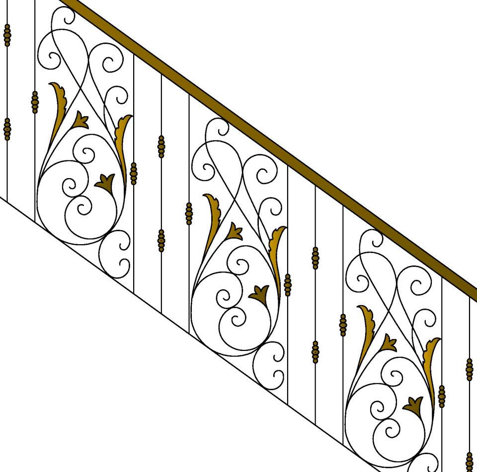Brass and iron staircase design