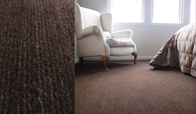 Artisans rich chocolate Llama wool Andina carpet is textured and cosy. Natural fibres are variegated in colour and give an organic vibe.
