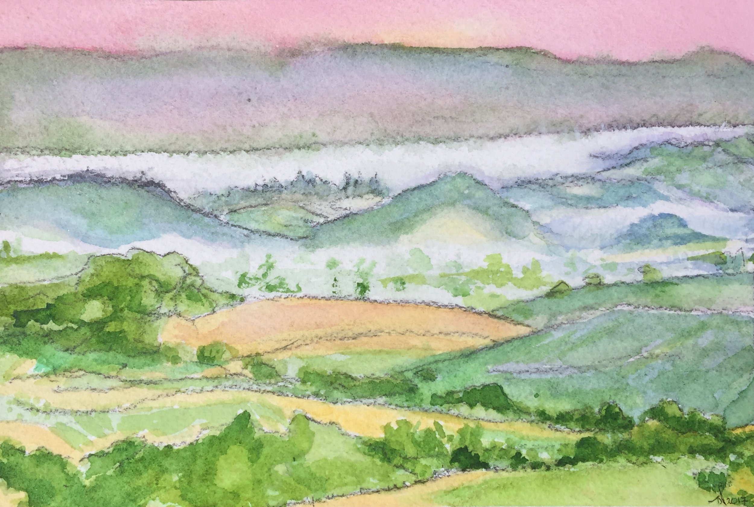 Lush, Green Sonoma Countryside Watercolor (Front)
