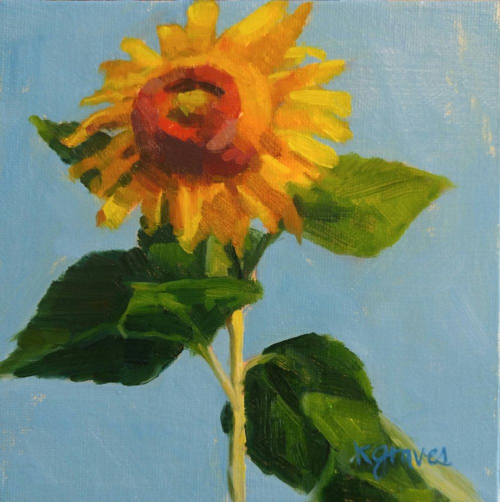 Sunflower #1, 6x6