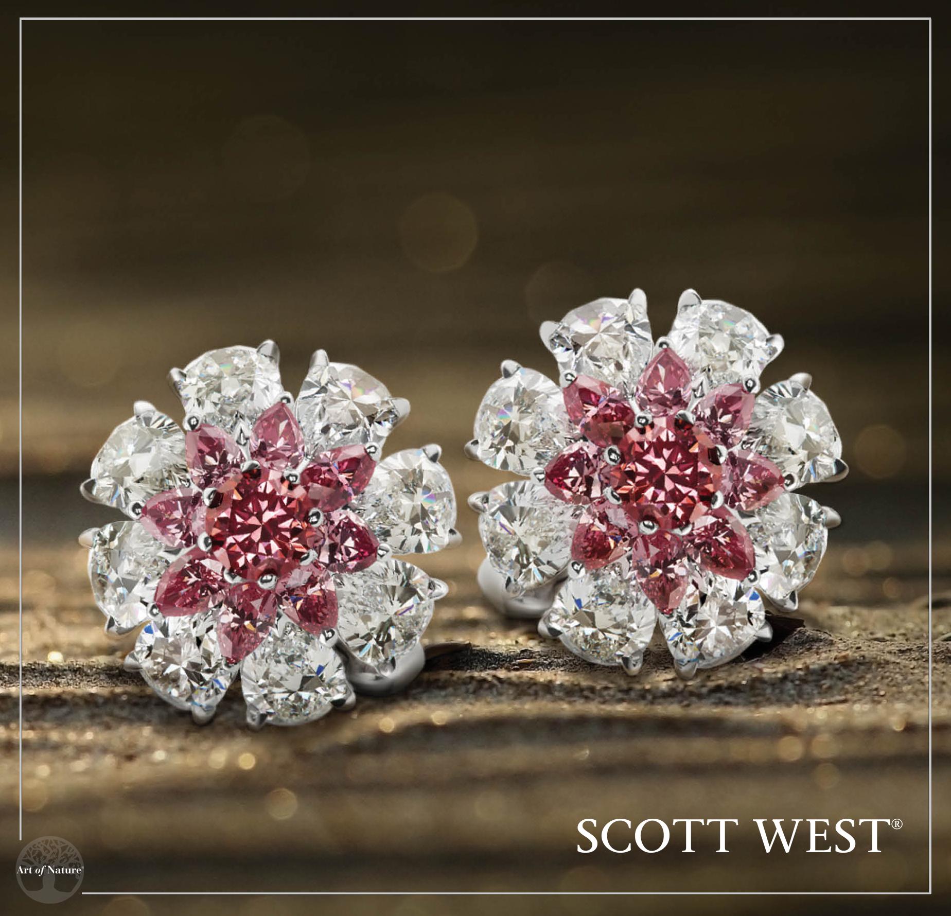 Scott West - Pink Diamond Button Earrings   Pink Diamond Button Earrings, 14.83 ctw   Inquire