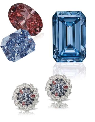 The 14.62 carats Oppenheimer Blue Diamond (right) $57,541,779 USD at Christie's in May of 2016, Scott West Patriot Earrings (bottom) featuring rare Argyle Pink and Blue diamonds.