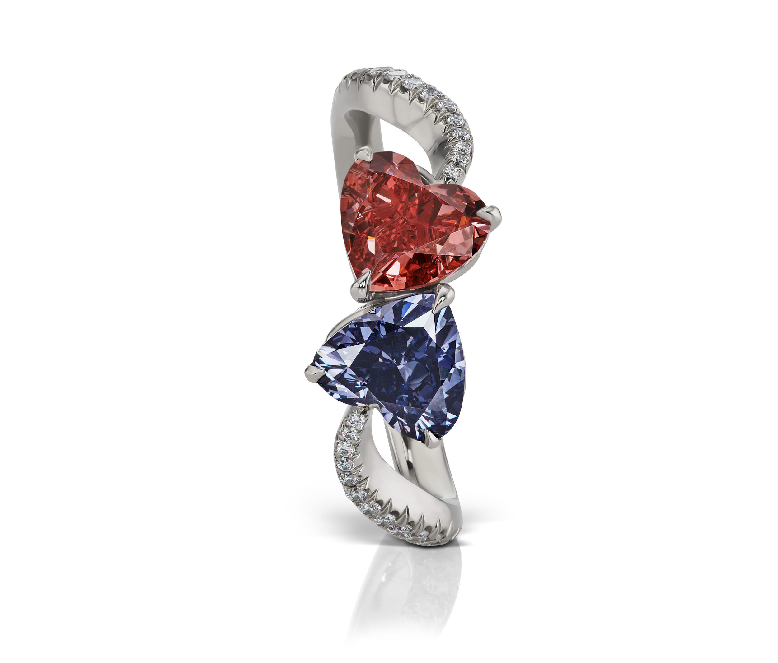 Twin Heart ring featuring a 0.75 carat fancy red SI2 (GIA) and 0.78 carat Fancy deep bluish violet. Designed by Scott West