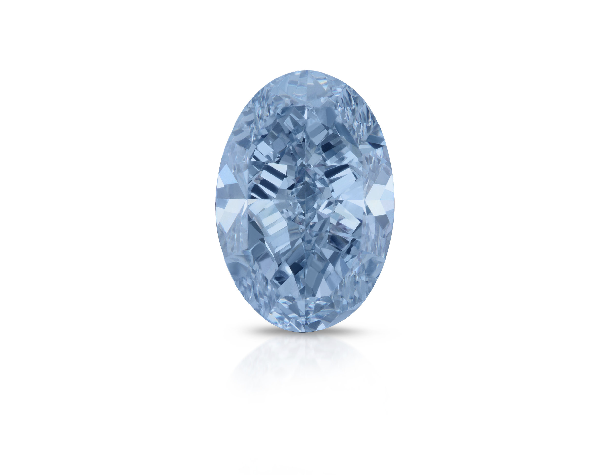 the final results after examine, cutting and polishing is a 3.04 carat intense blue vs oval shaped diamond