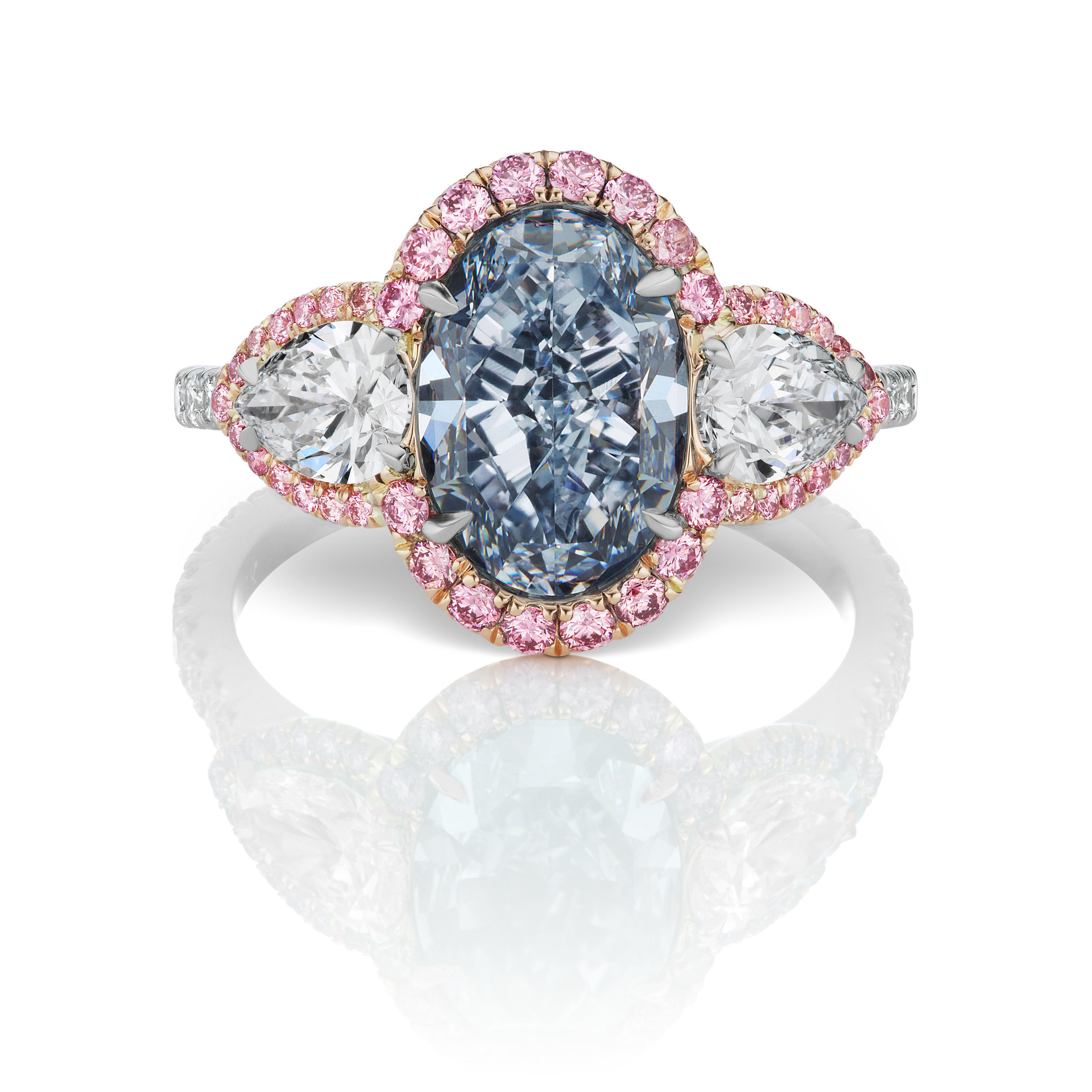 3.04 carat intense blue oval shaped diamond vs set platinum accented by argyle pink diamonds designed by Scott West