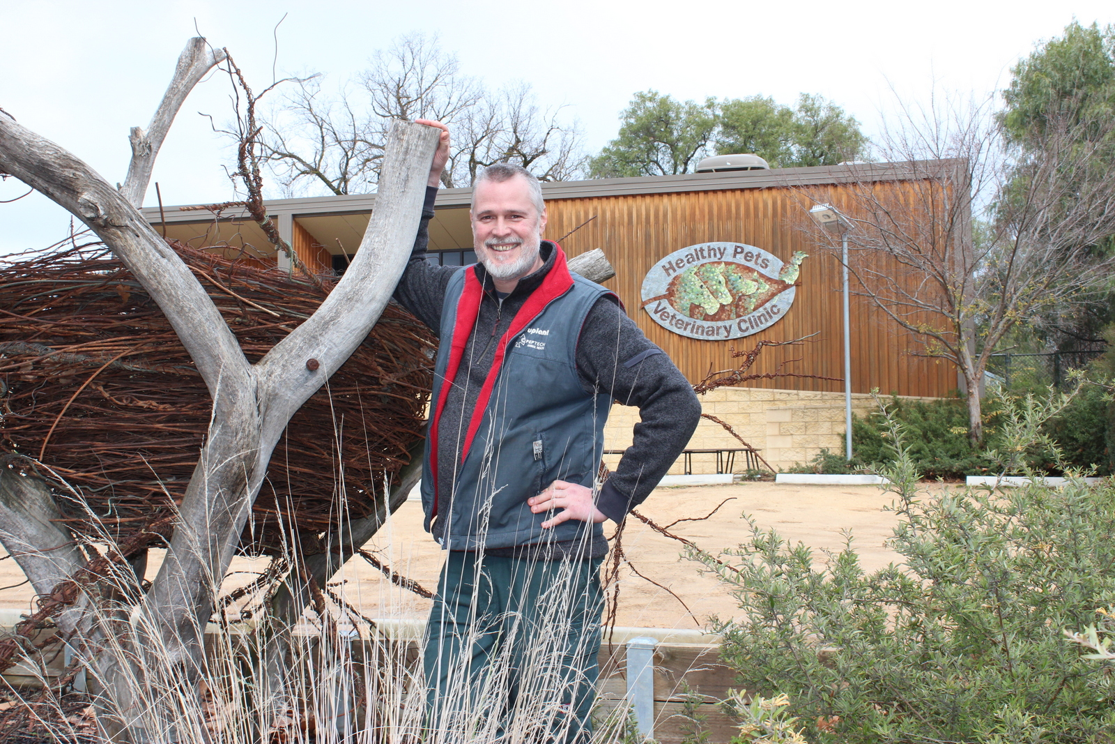 Dr Bruce Syme outside his veterinary clinic in Castlemaine, central Victoria.