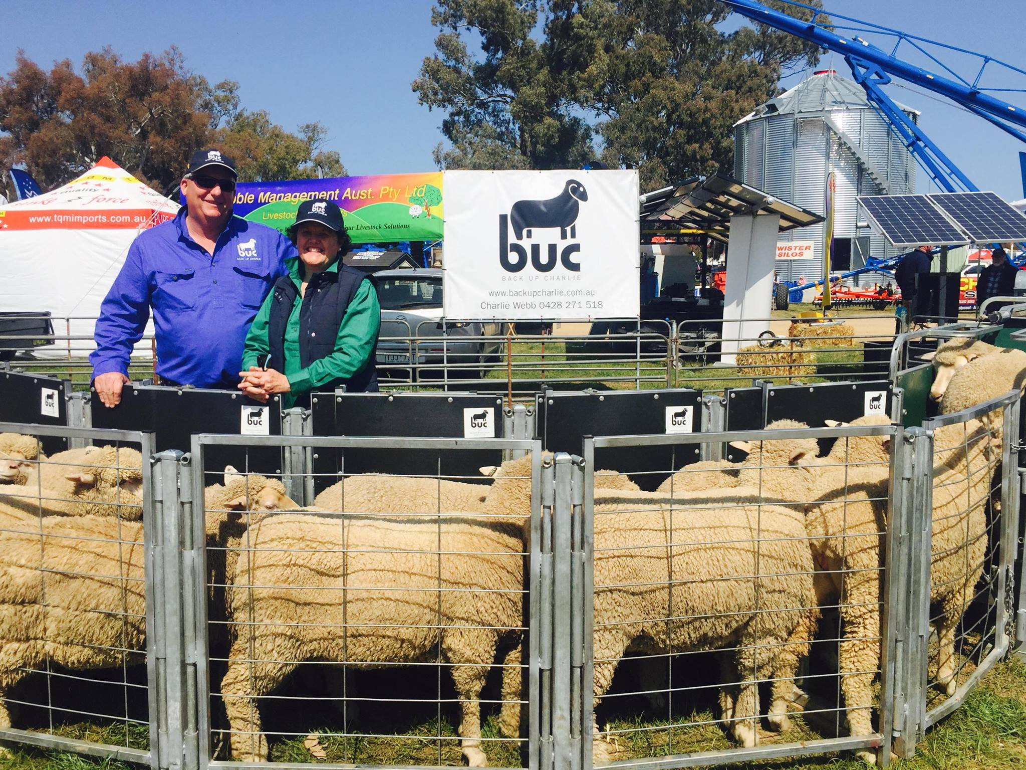 Charlie and Tana Webb after Back Up Charlie won the Machine of the Year Award at the 2016 Henty Field Days.