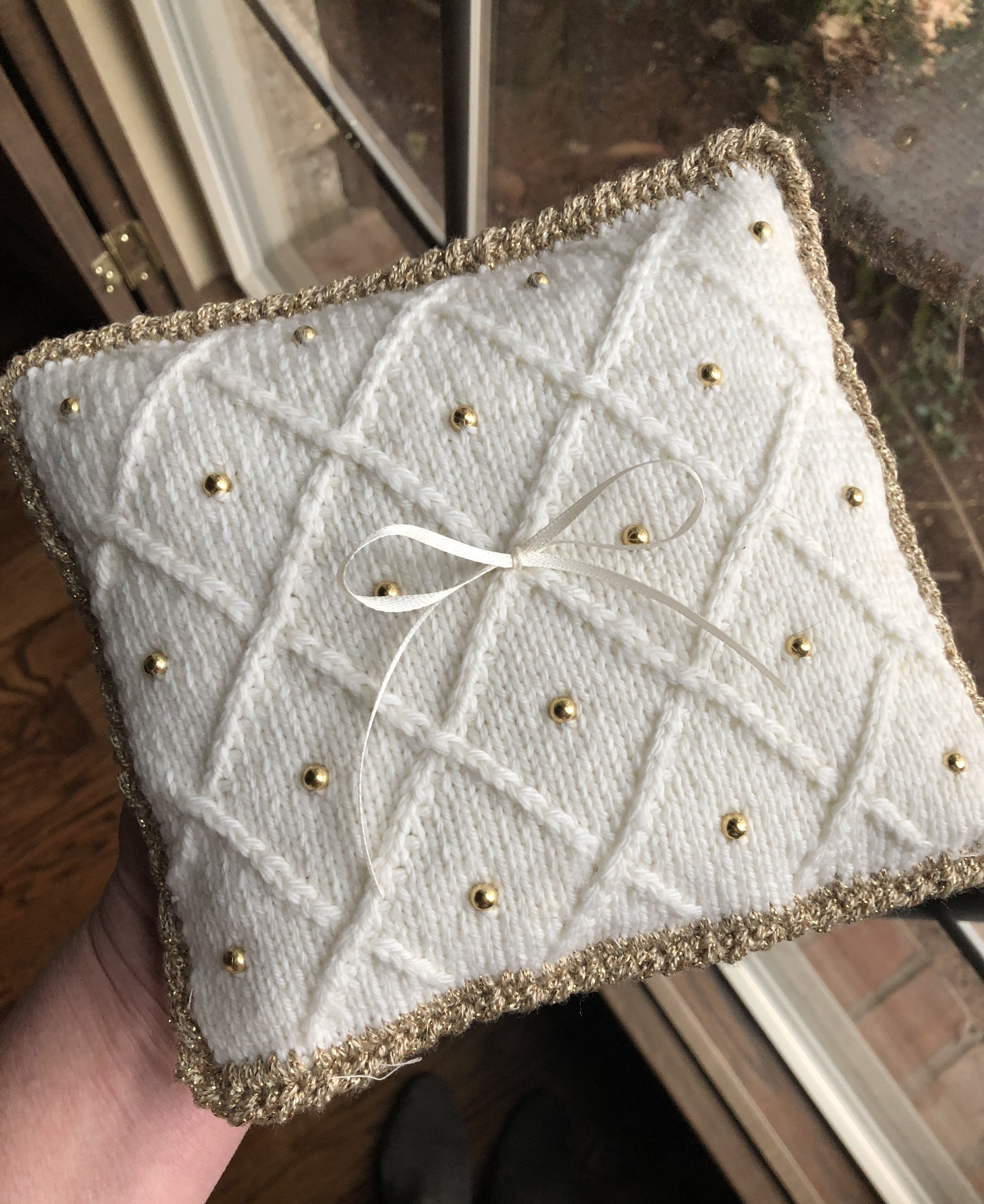 Handknit and beaded ring bearer pillow