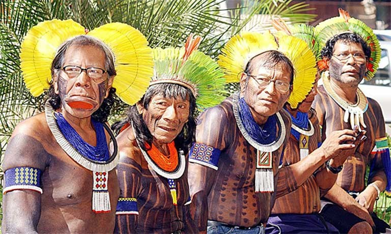 Indigenous Brazilian chiefs from the Kaiapos tribe living in the Xingu River basin. Photo by Valter Campanato, courtesy of news.mongabay.com.
