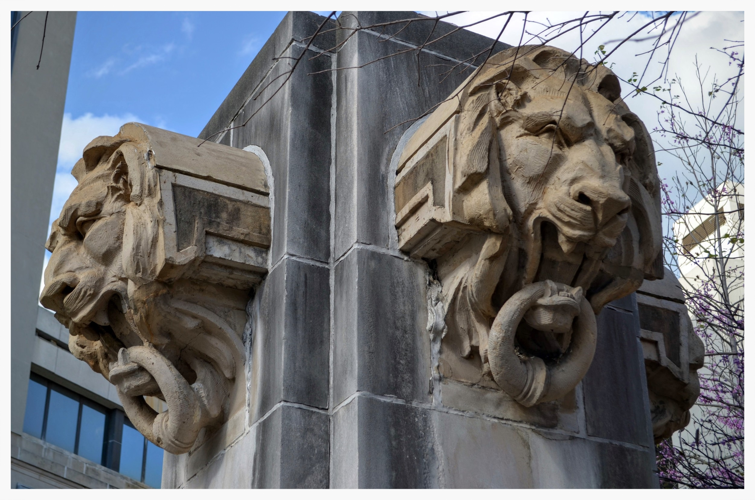 Closeup of the Decorative Lions Heads, Court Square, Montgomery, Alabama