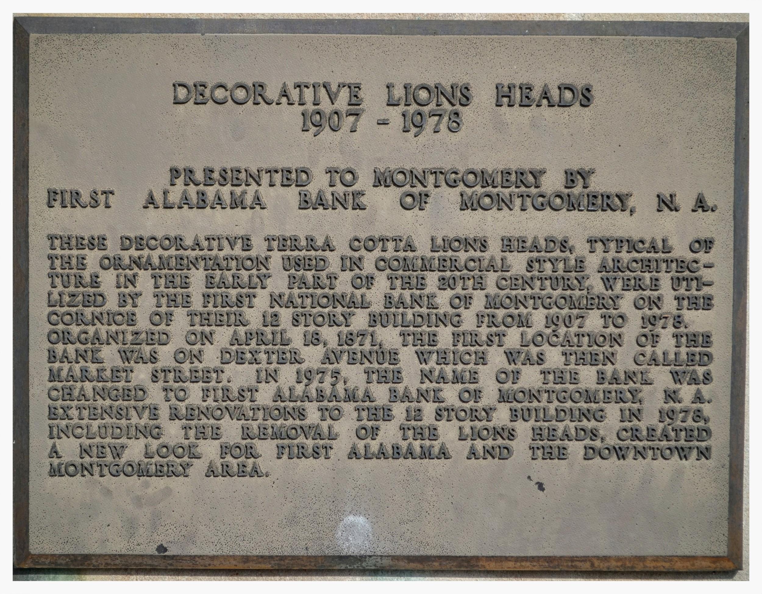 Decorative Lions Heads plaque, Court Square, Montgomery, Alabama