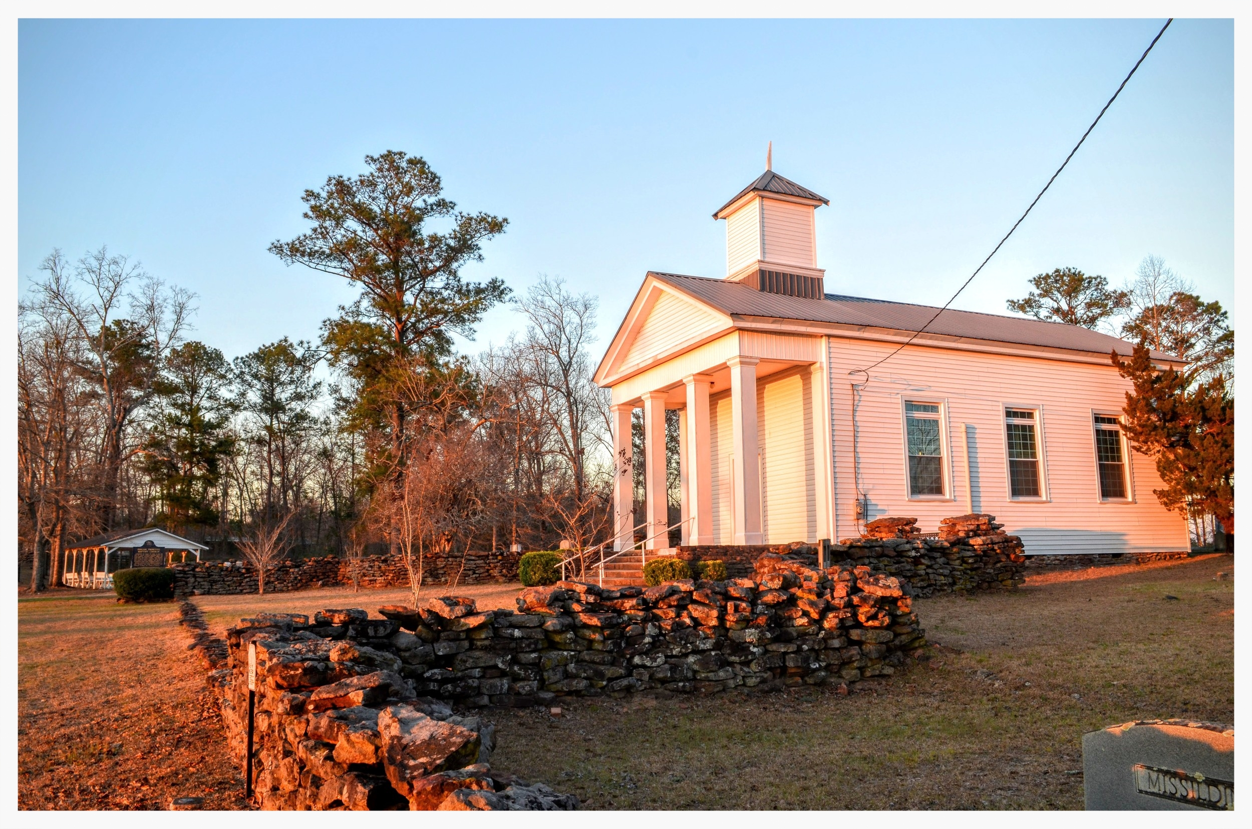Building, grounds, and pavilion, Pisgah Primitive Baptist Church, Montgomery County, Alabama