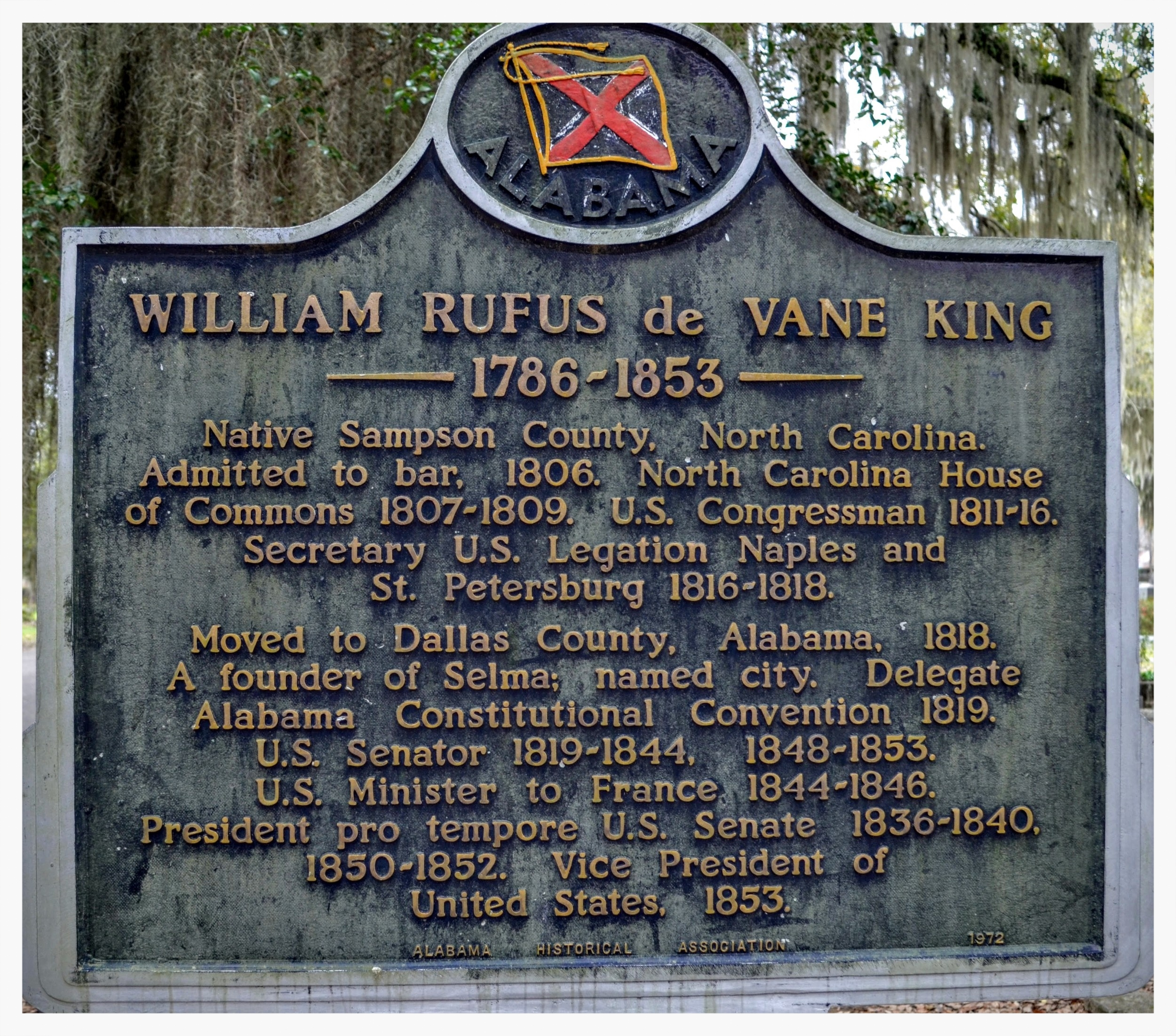 Historical marker for William Rufus King, Live Oak Cemetery, Selma, Alabama