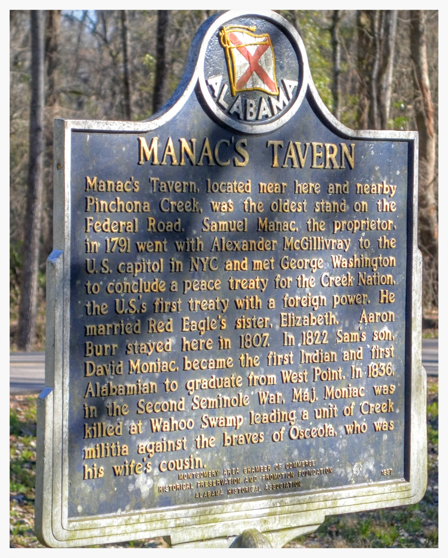 Manac's Tavern historical marker, Hope Hull, Montgomery County, Alabama
