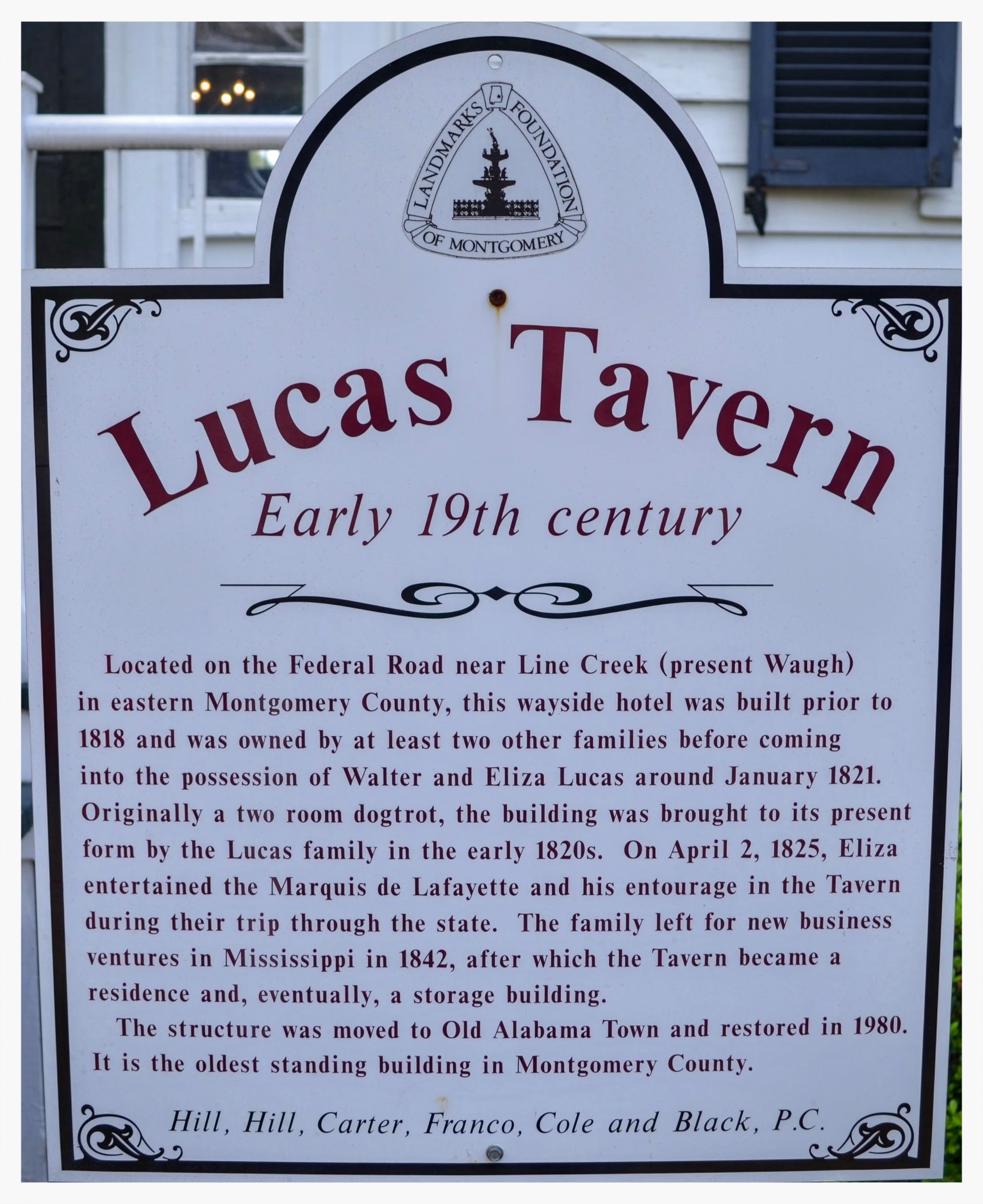 Lucas Tavern information placard, Old Alabama Town, Montgomery, Alabama