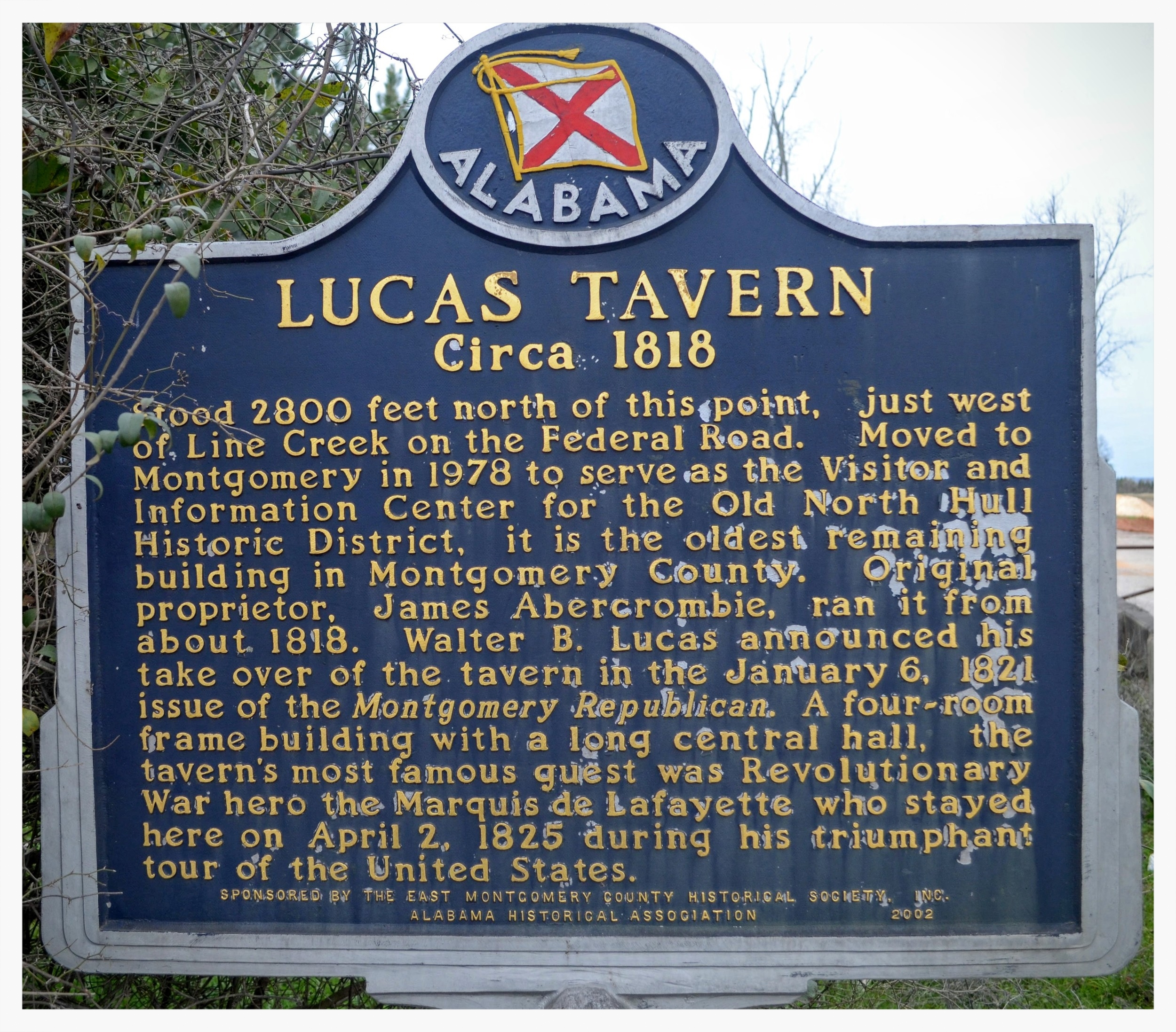 Lucas Tavern historical marker, Waugh, Montgomery County, Alabama