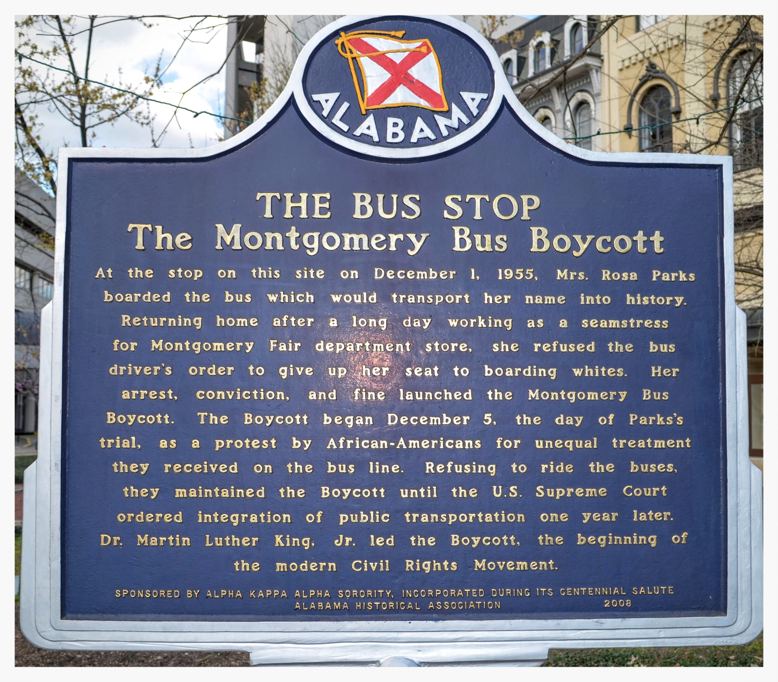 The Bus Stop historical marker, Court Square, Montgomery, Alabama