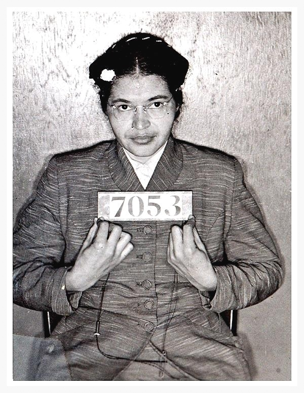 Mug shot of Rosa Parks, 1 December 1955, following her arrest for refusing to give up her seat on a bus in Montgomery, Alabama (photo courtesy of the National Archives)