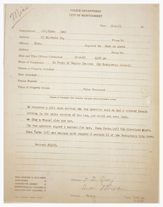 Arrest report for Rosa Parks, 1 December 1955, Montgomery, Alabama (image courtesy of The National Archives)