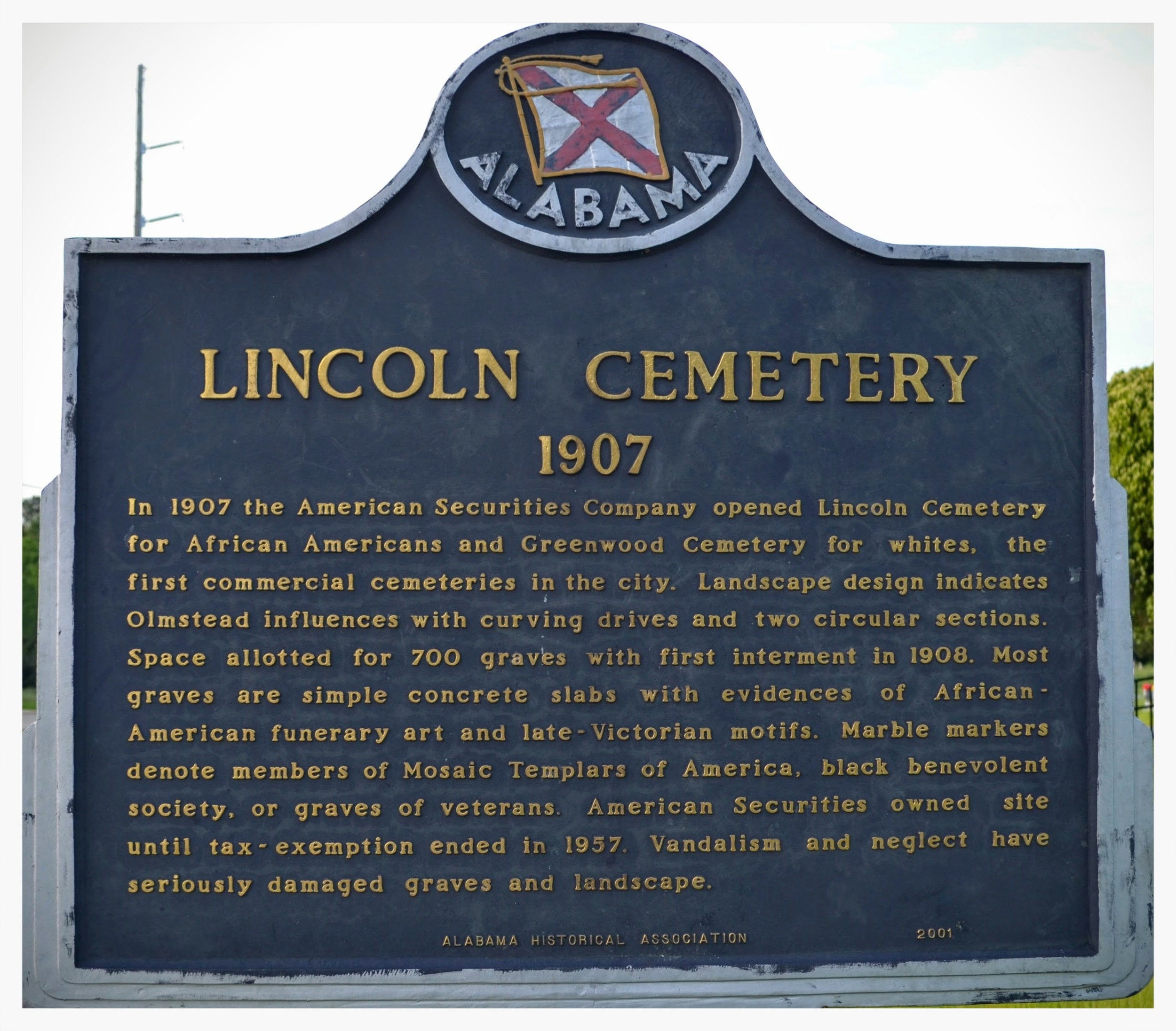 Lincoln Cemetery historical marker, Montgomery, Montgomery County, Alabama
