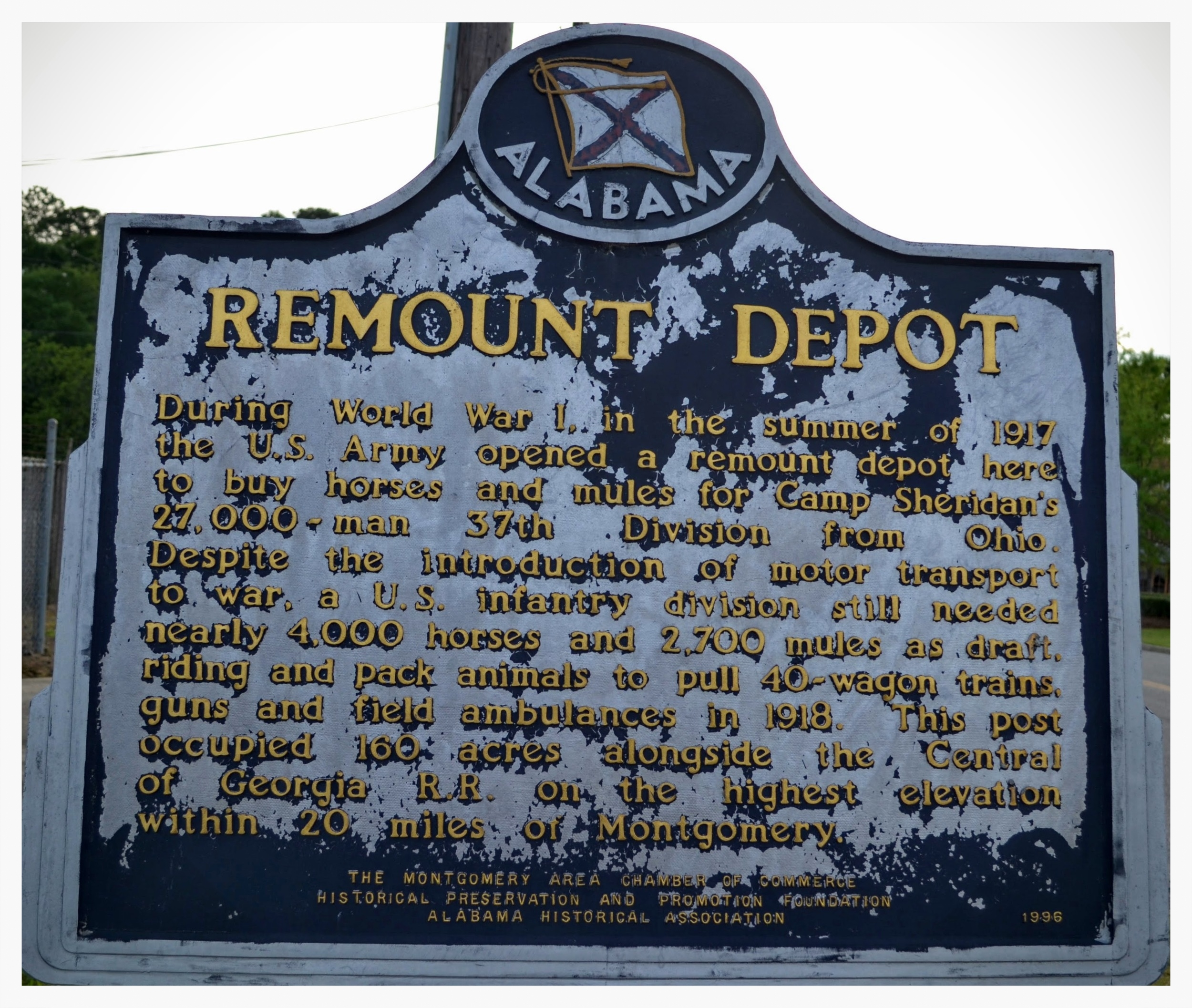 Remount Depot historical marker, Montgomery, Montgomery County, Alabama