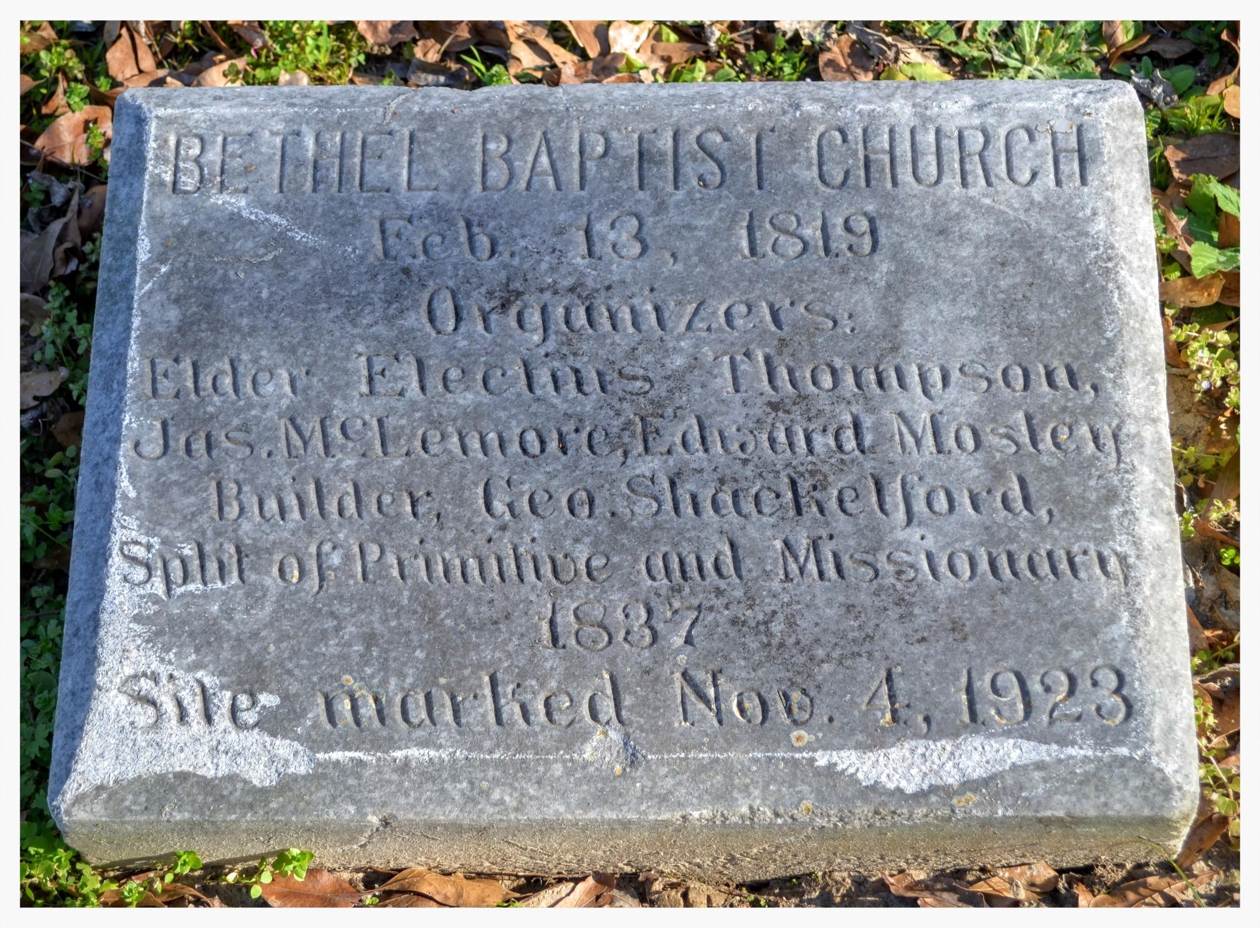 Bethel Baptist Church split marker, Bethel Cemetery, Pintlala, Montgomery County, Alabama