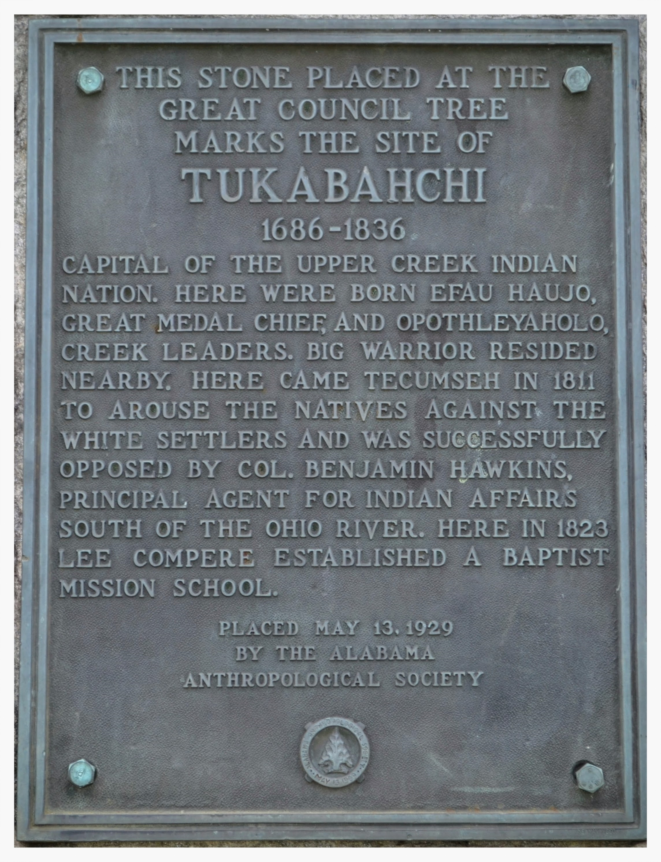 Old Tukabahchi marker, Tallassee, Elmore County, Alabama